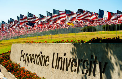 Flags on the lawn - Pepperdine University