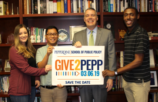 Dean Pete Peterson and SPP students - Give2Pepp Day 2019