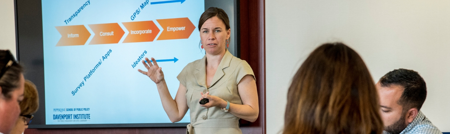 Davenport Institute Executive Director Ashley Trim teaching a class.