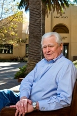Gordon Lloyd sits outside - Pepperdine University