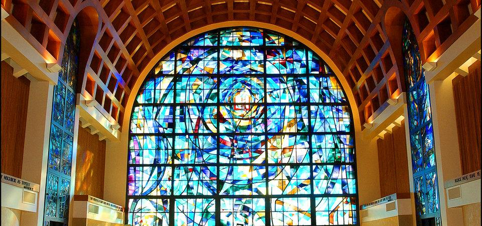 Stained Glass Window in the Stauffer Chapel on Campus
